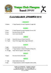 Calendario Sportivo.Calendario Sportivo 2019 Vespa Club Pisogne